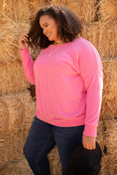 Sadie's Simple Sweater in Pink
