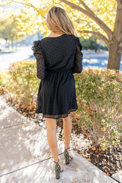 Sheer Sleeve Little Black Dress