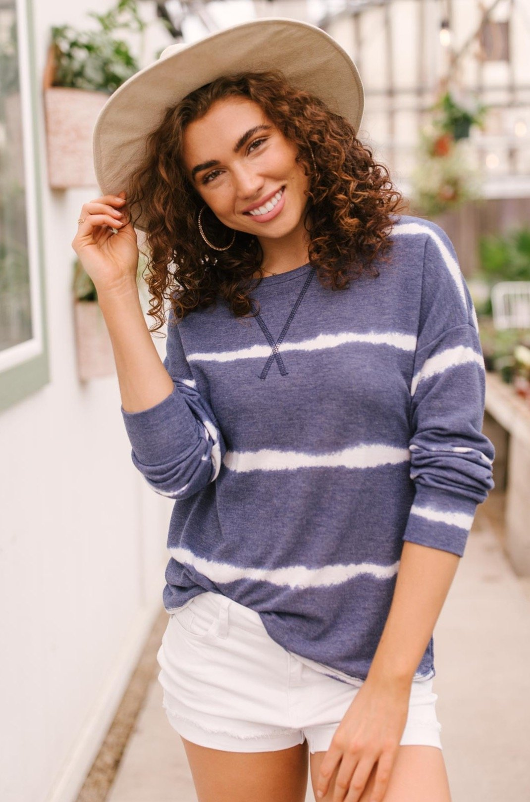 Wave of Stripes Top in Steel Blue