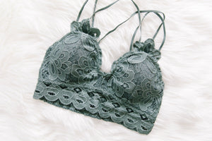 XOXO Scalloped Lace Bralette In Antique Blue