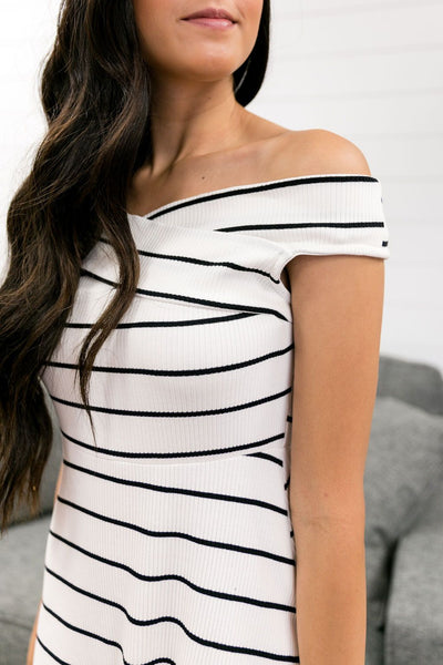 Black, White + Red Hot All Over Dress