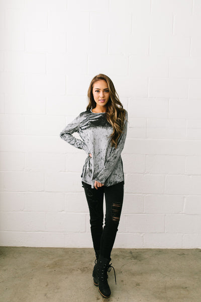 Crushing It Velvet Pleated Back Top In Charcoal - ALL SALES FINAL