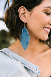 Don't Leave Me Earrings In Slate Blue