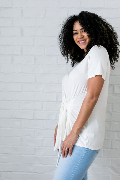 Draped Tie Front Top In Ivory - ALL SALES FINAL