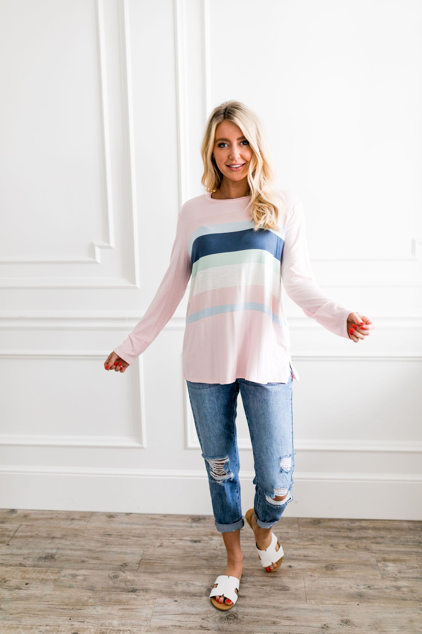 Easter Striped Top In Soft Pink