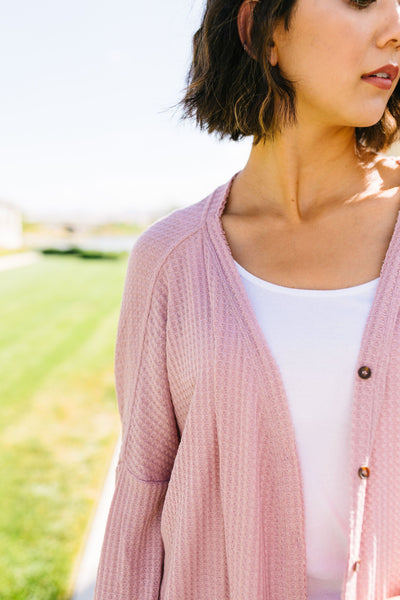Extreme Lengths Button Down Cardi In Rose