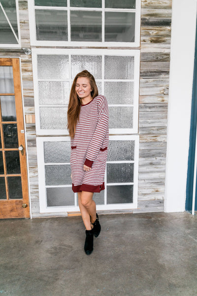 Georgia On My Mind Dress In Gray + Brick - ALL SALES FINAL
