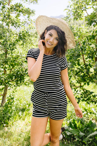 Lounge Town Striped Romper In Black