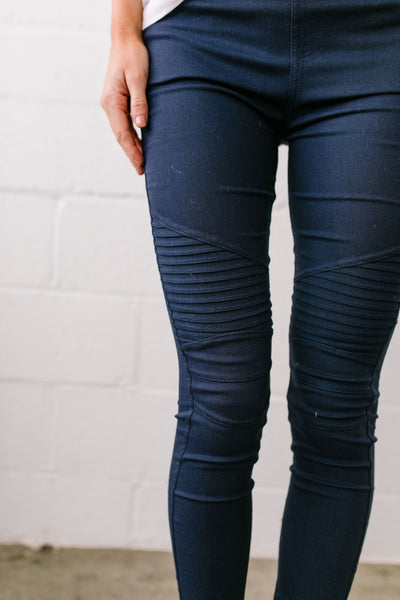 Marvelous Moto Jeggings In Navy
