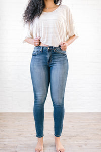 Medium Wash Denim High Rise Skinny Jean