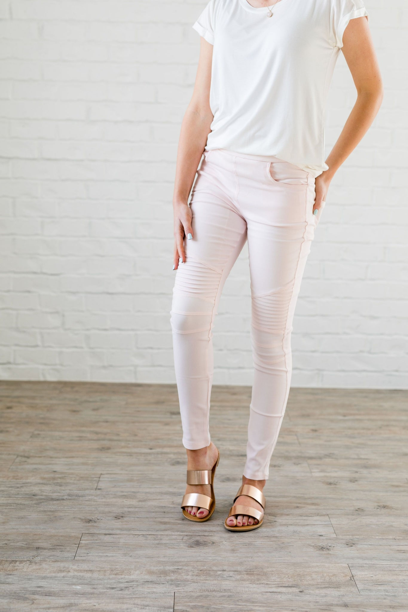 Moto Jeggings In Pale Pink - ALL SALES FINAL