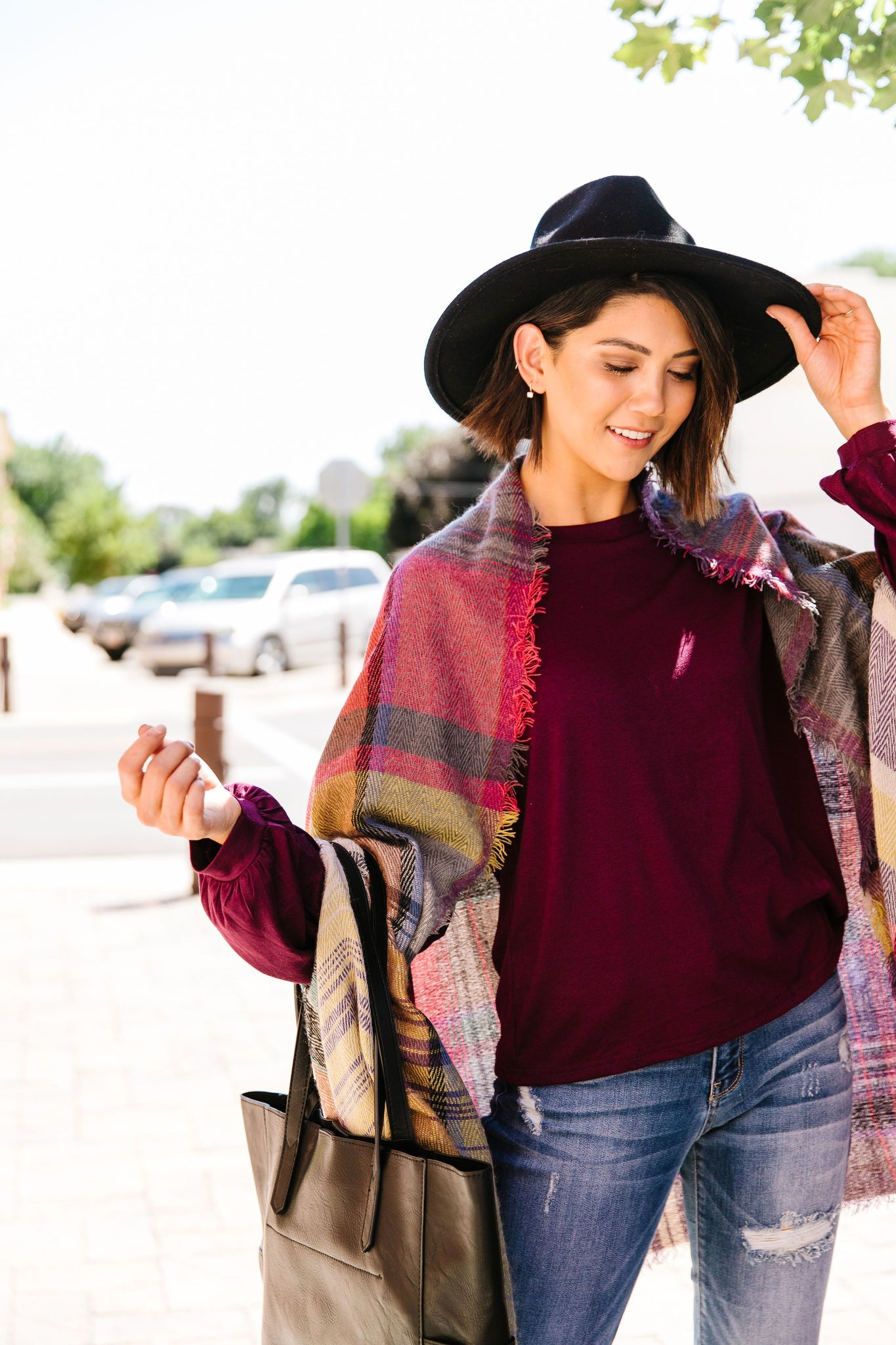 Nacho Basic Plaid Poncho