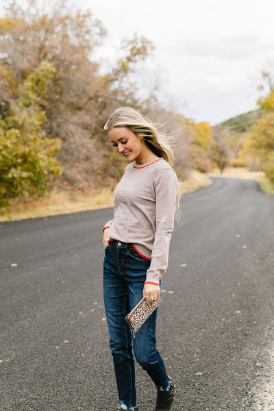 On The Edge Taupe Mocha Sweater