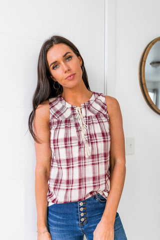 Plaid Lace-Up Sleeveless Top - ALL SALES FINAL