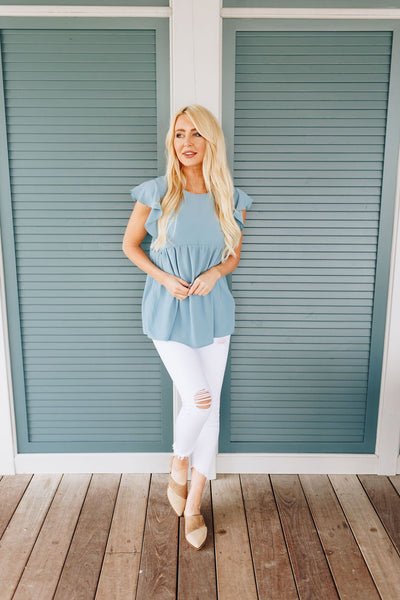 Ruffled Sleeve Baby Doll Blouse In Dusty Blue