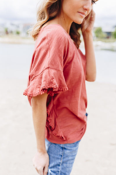 Ruffles On The Side Top In Marsala