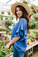 Ruth Ruffled Sleeve Top In Royal