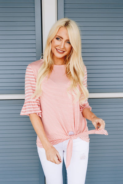 Stella Striped Tie-Front Top