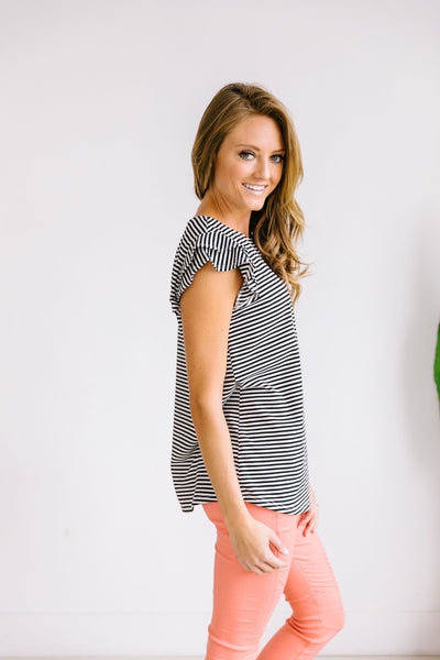 Striped Double Ruffle Top In Black + White