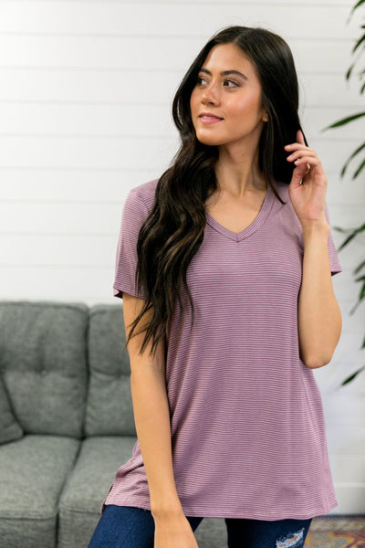 Subtle Stripe V-Neck Tee In Mauve