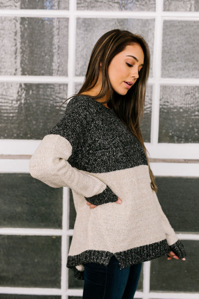 Sunny Side Up Color Block Sweater In Charcoal