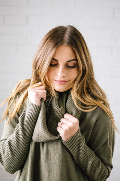 The Cassidy Cowl Neck Sweater in Olive