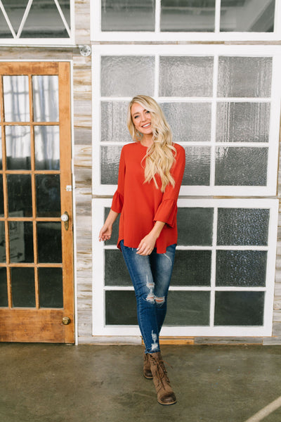Trumpet Sleeve Blouse In Rust