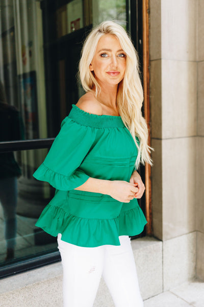 Tucks + Ruffles Off Shoulder Top In Spearmint