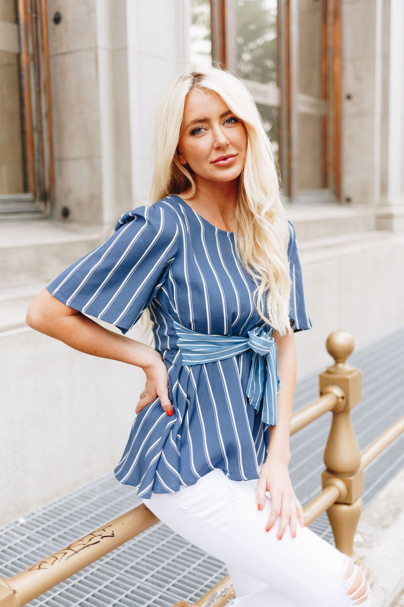 Two Of A Kind Striped Blouse