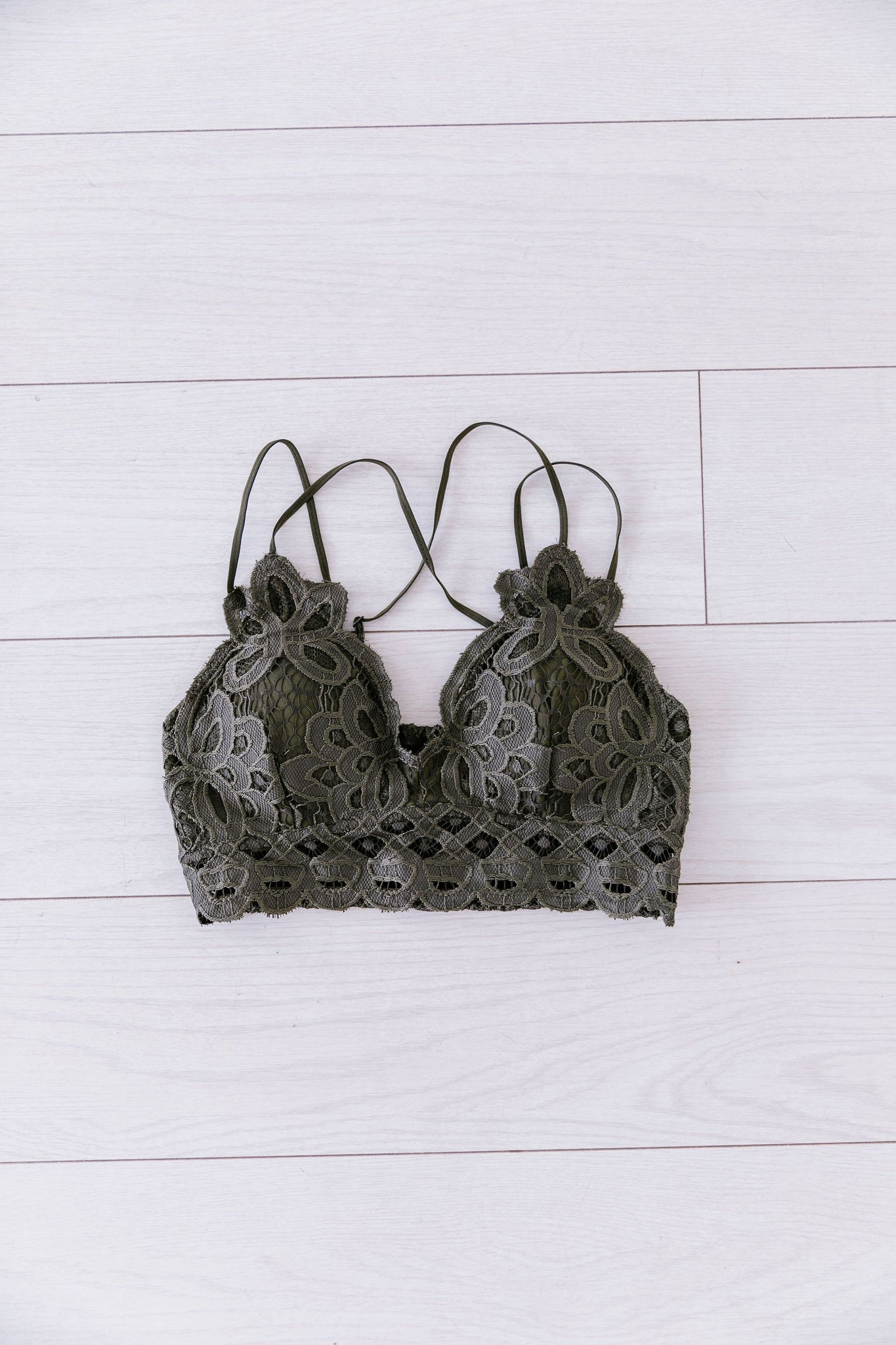 XOXO Scalloped Lace Bralette In Olive