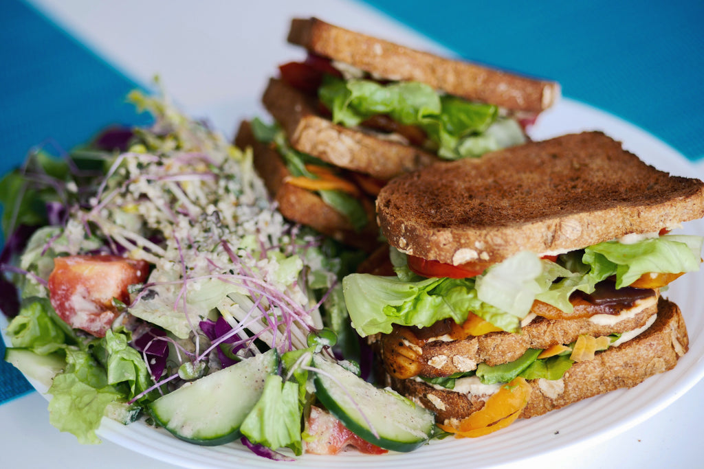 Roasted Veggie Sandwich + Garden Salad Recipe