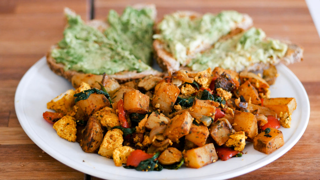 Potato Tofu Hash with Avocado Toast