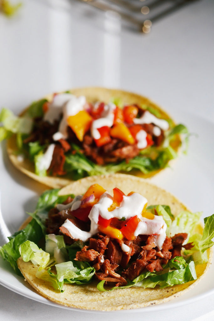 Pulled BBQ JackFruit Tacos with Spicy Mango Salsa & Cashew Lime Sauce