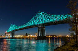 Jacques Cartier's Bridge lit in Montreal Quebec