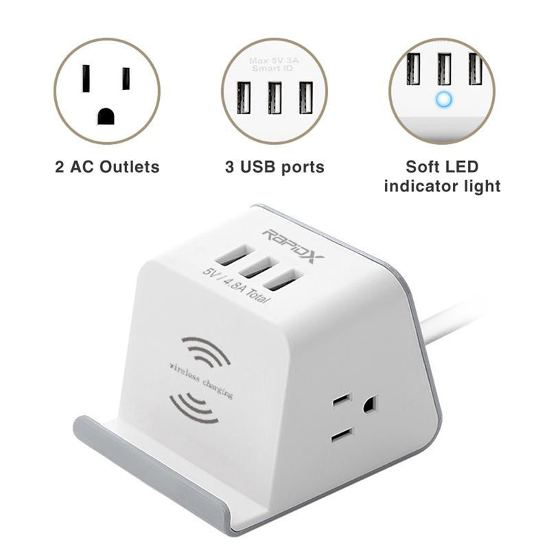 Multipurpose Power Strip & Wireless Charger features infographic