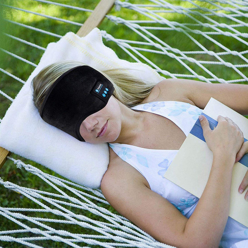 bluetooth sleeping mask lifestyle woman sleeping on hammock