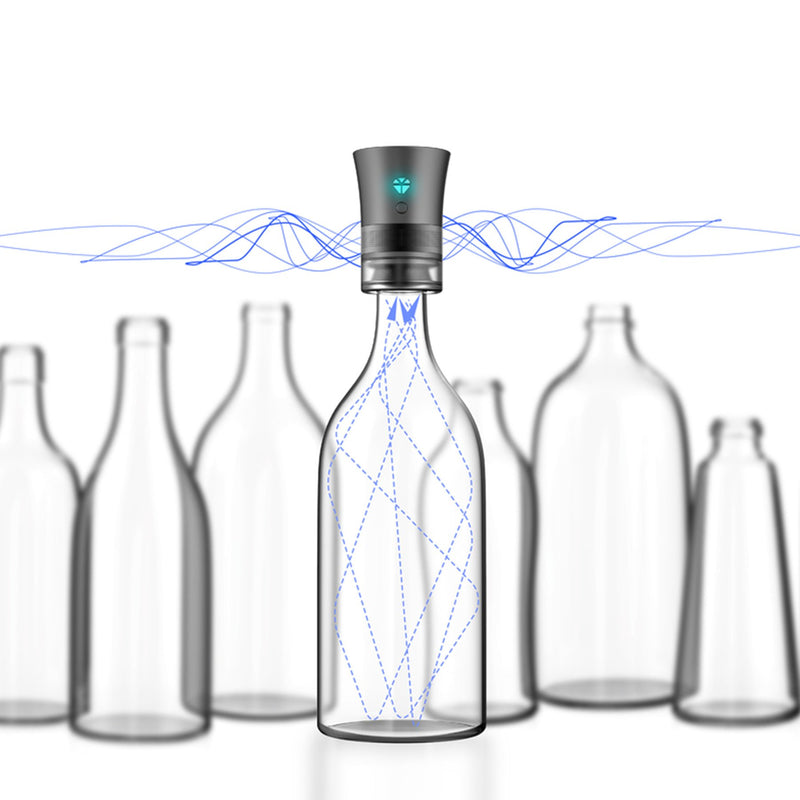 cork speaker on bottle with music waves