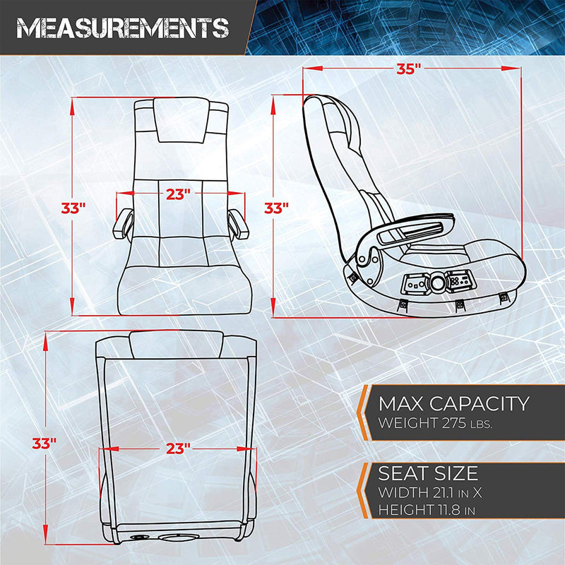 Floor Video Gaming Chair  measurements infographic