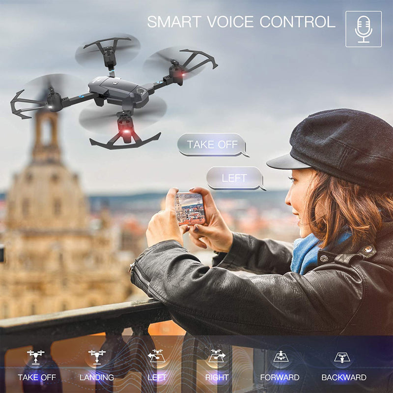 Foldable Wifi Drone Camera smart voice control infographic