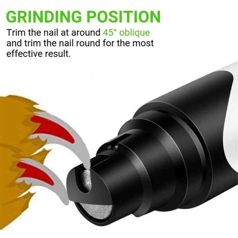 pet nail trimmer grinding position infographic