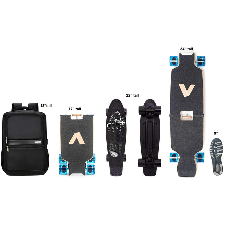 portable mini skateboard size comparison