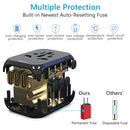 Universal Travel Adapter infographic multiple protection