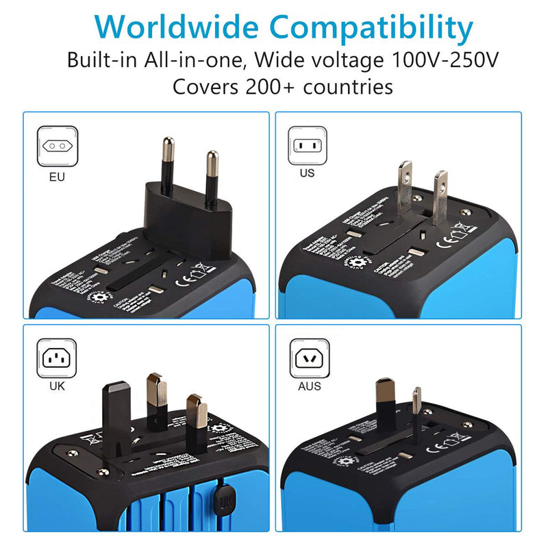 Universal Travel Adapter infographic worldwide compatibility