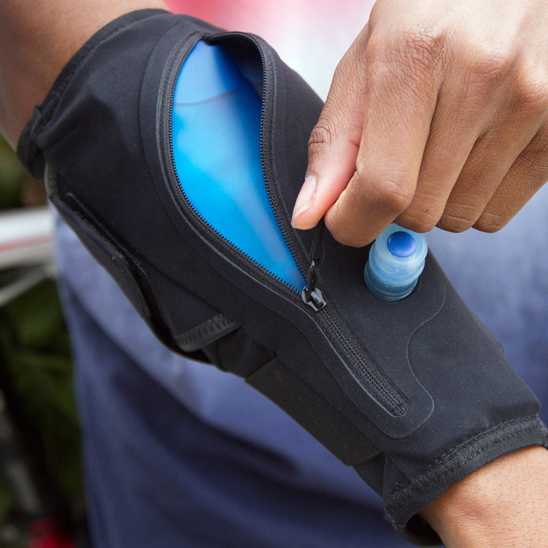 wearable water container lifestyle zipping up