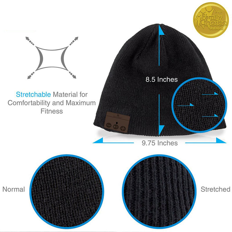 wireless smart beanie infographic size and material