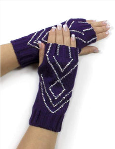 Rhinestone Knitted Fingerless Gloves
