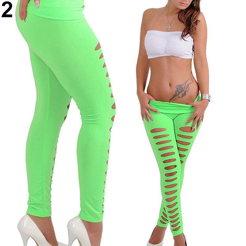 Sexy Candy Color Hollow Ripped Yoga Pants