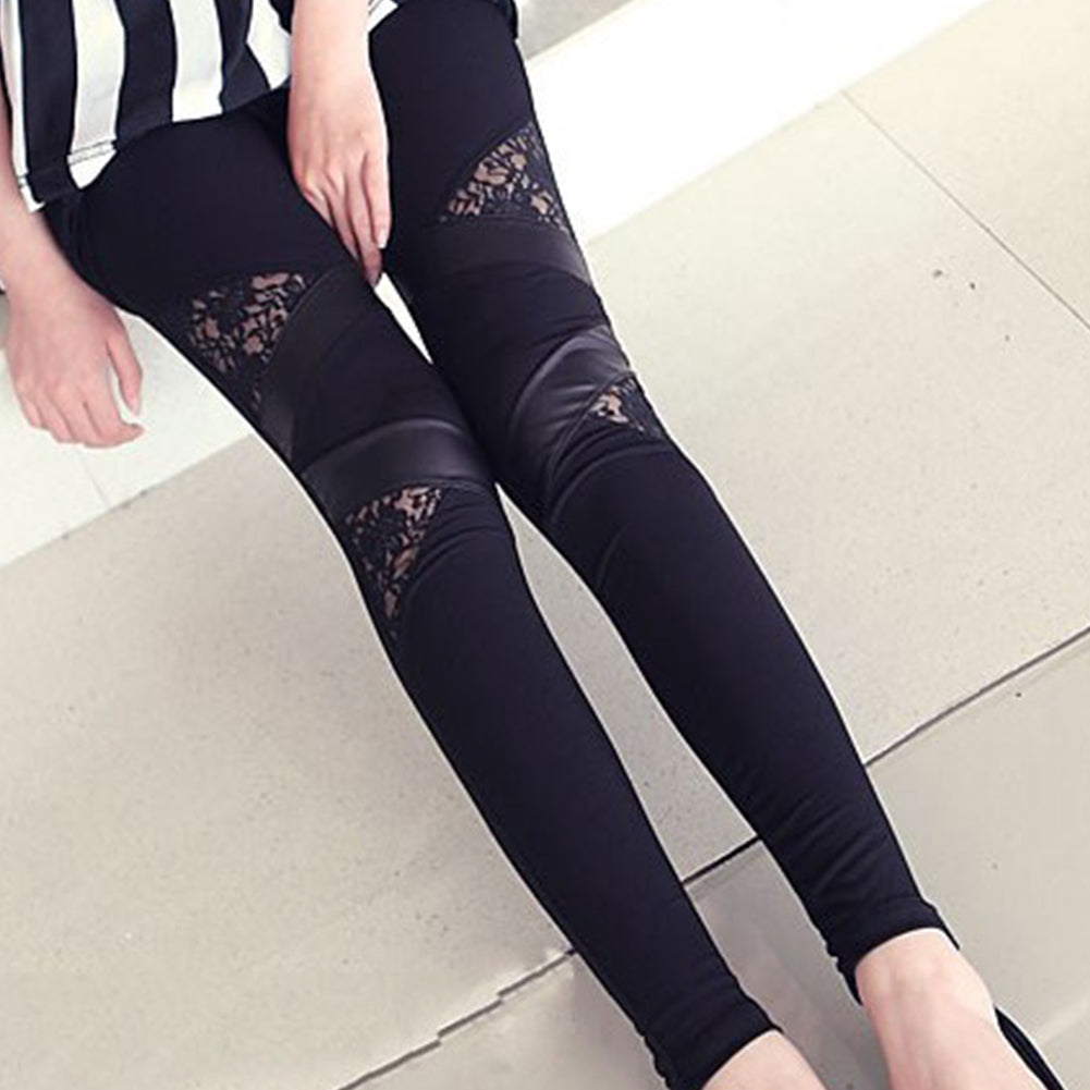 Vegan Leather and Lace Legging