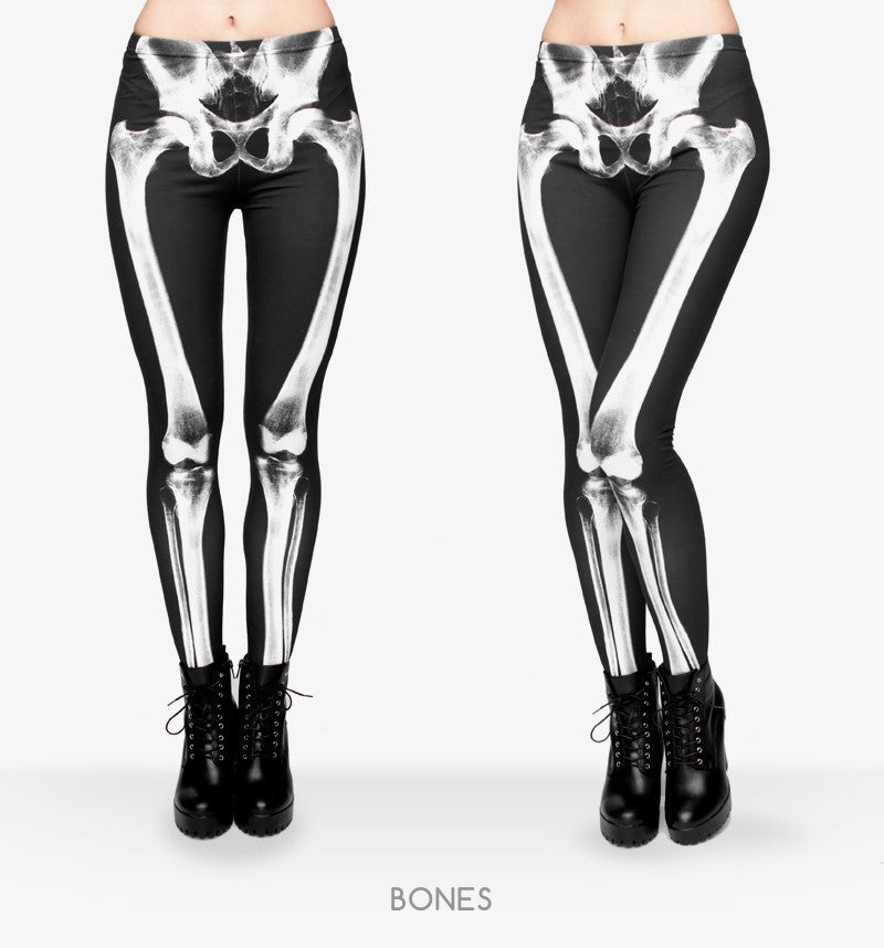 Black Skeleton Casual High Waist Leggings