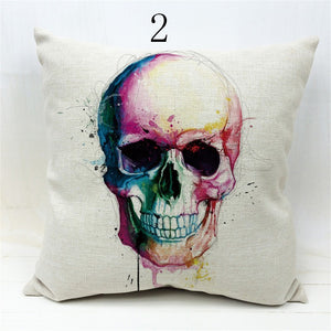 Colorful Skull Throw Pillows Covers